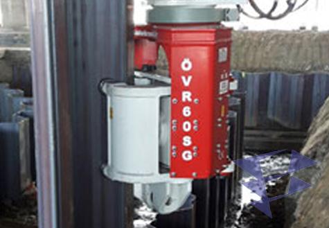 Изображение экскаваторного вибропогружателя OVR 60SG в действии
