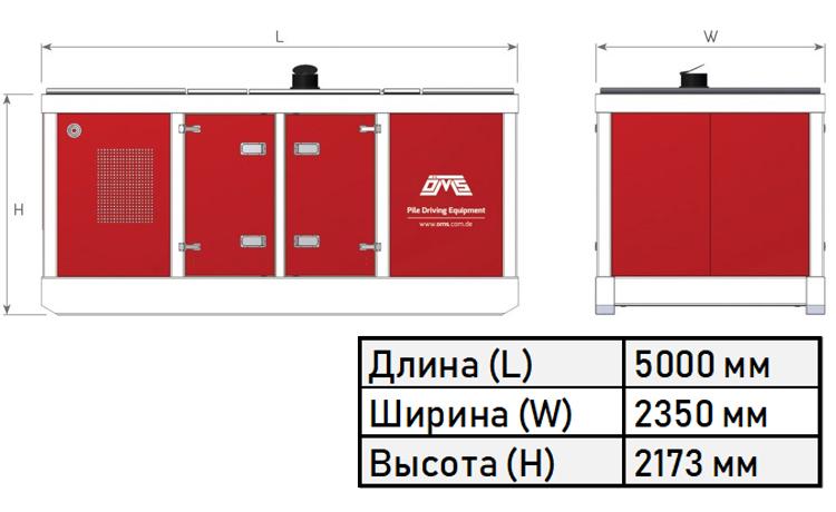 Габариты силового блока модели PP 1072-1536