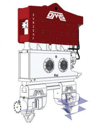 Иллюстрация вибропогружателя с нормальной частотой используемый для погружения шпунта, свай и труб серии NF компании Ozkanlar Makina