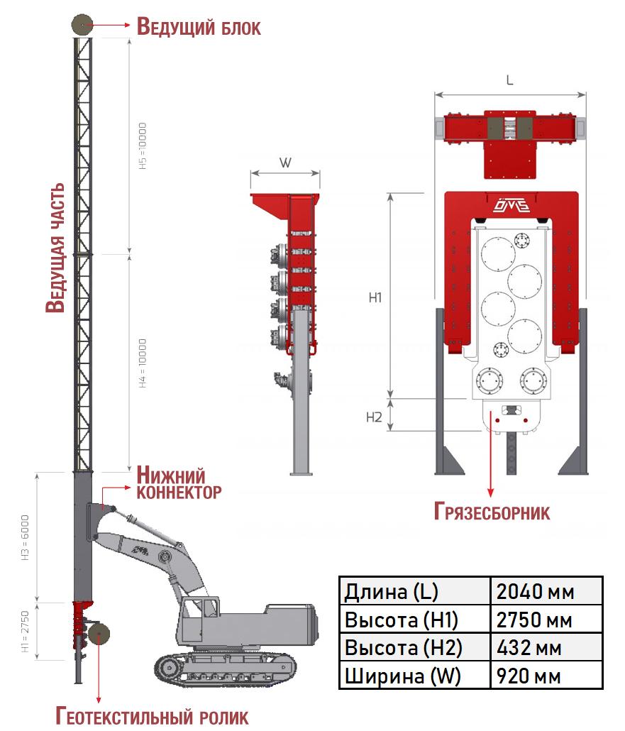 Приспособление для вертикального дренажа модели WD 28 - 43. Габариты и размер конструкции.