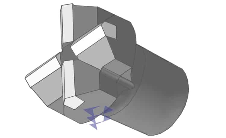 Крестообразное долото с твёрдосплавными вставками для анкерных систем